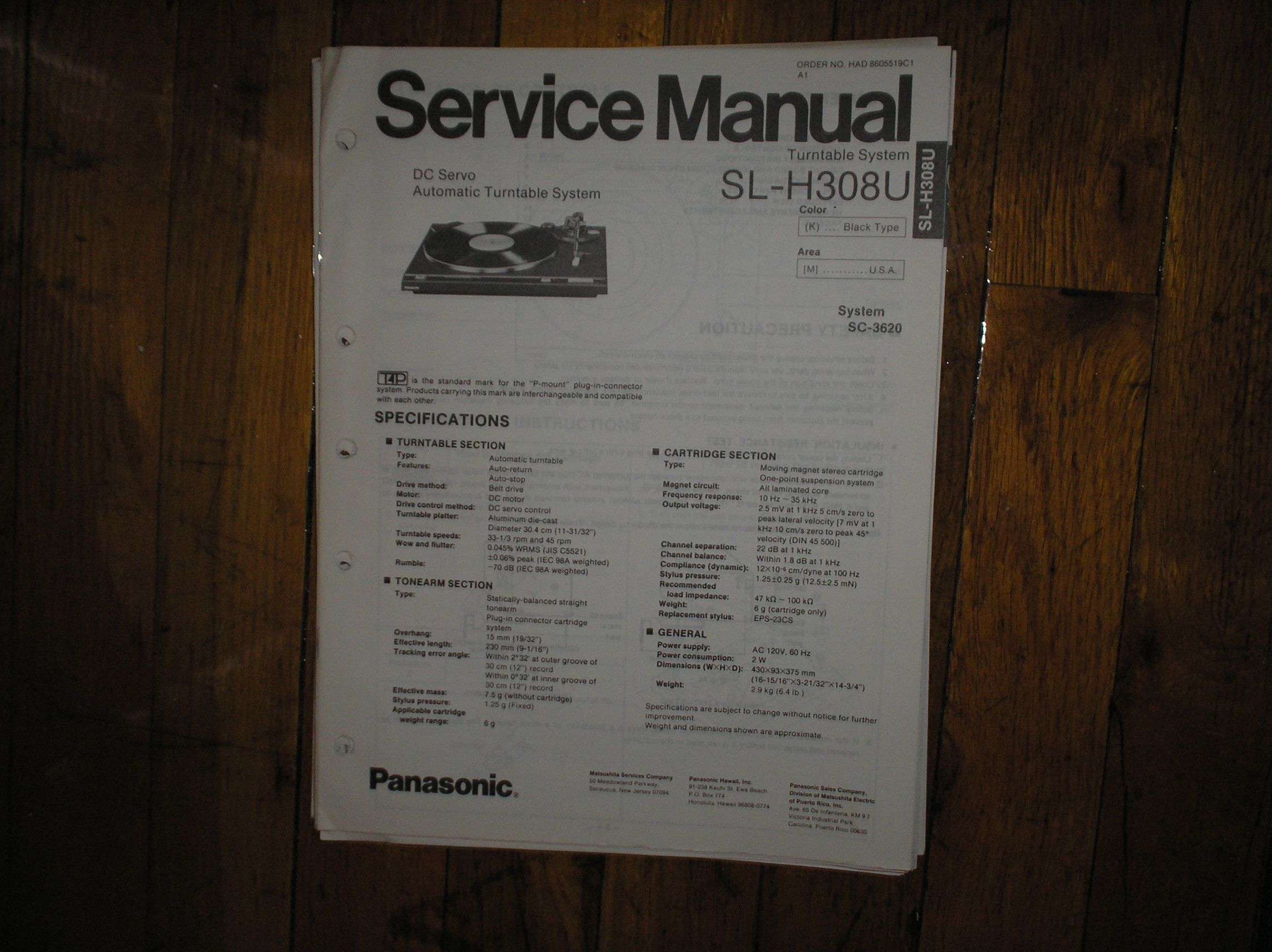 SL-H308U Turntable Service Manual  PANASONIC TURNTABLES