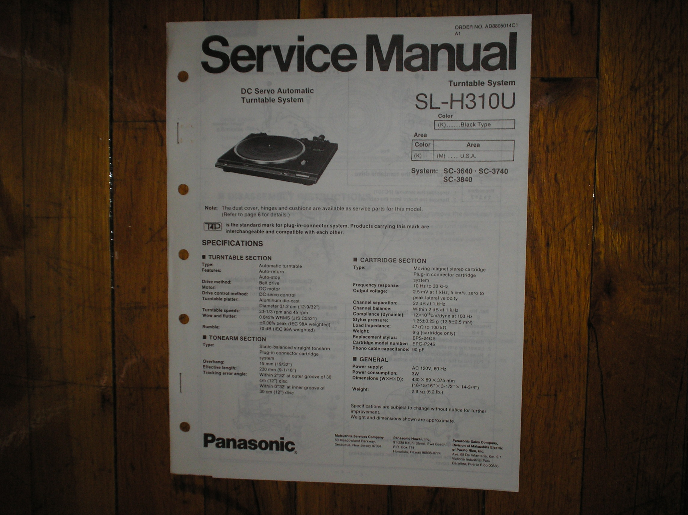 SL-H310U Turntable Service Manual