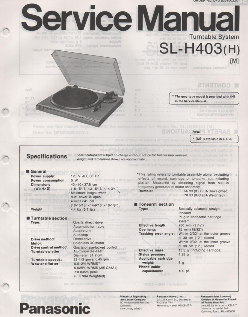 SL-H403 Turntable Service Manual