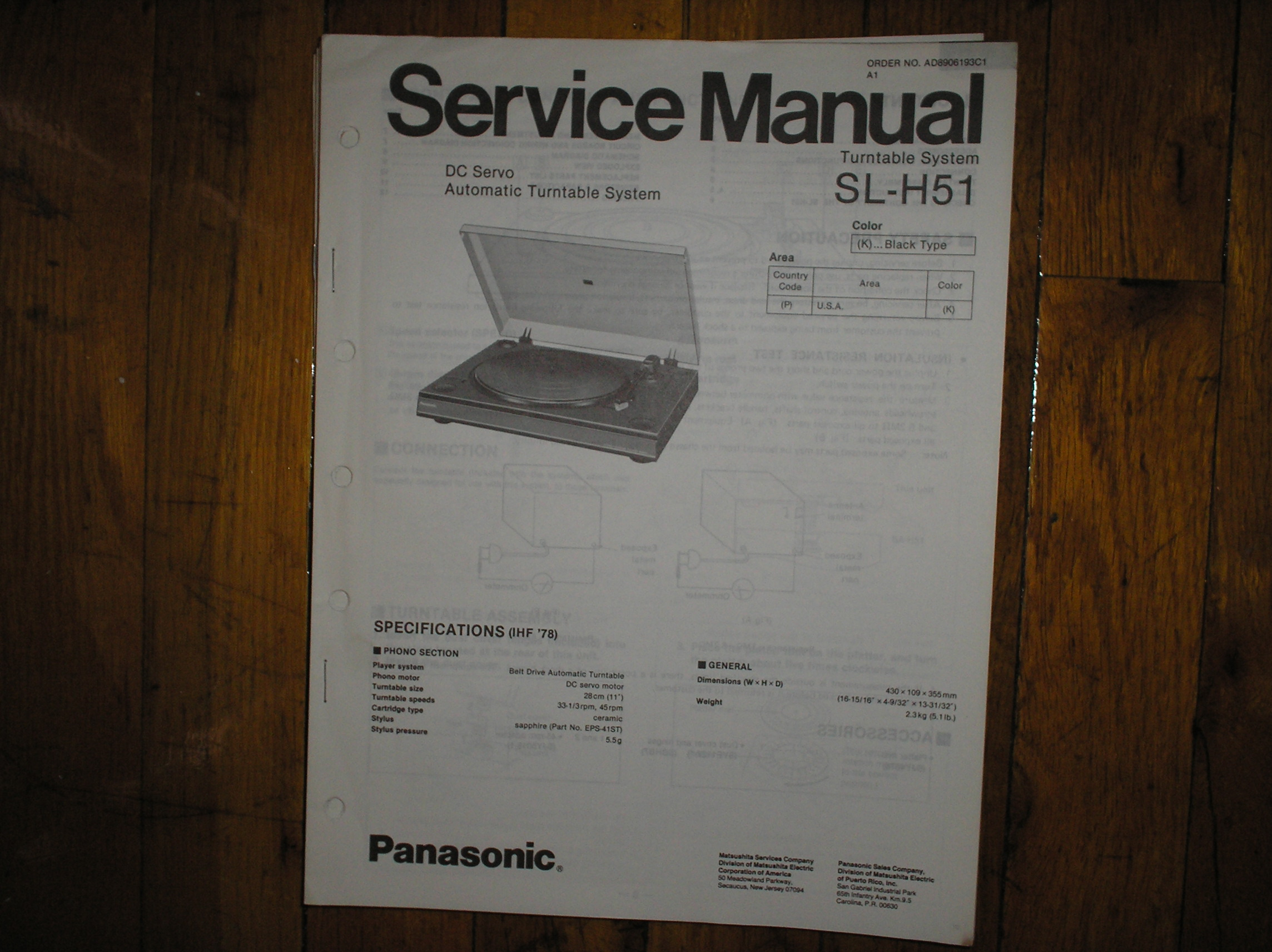 SL-H51 Turntable Service Manual