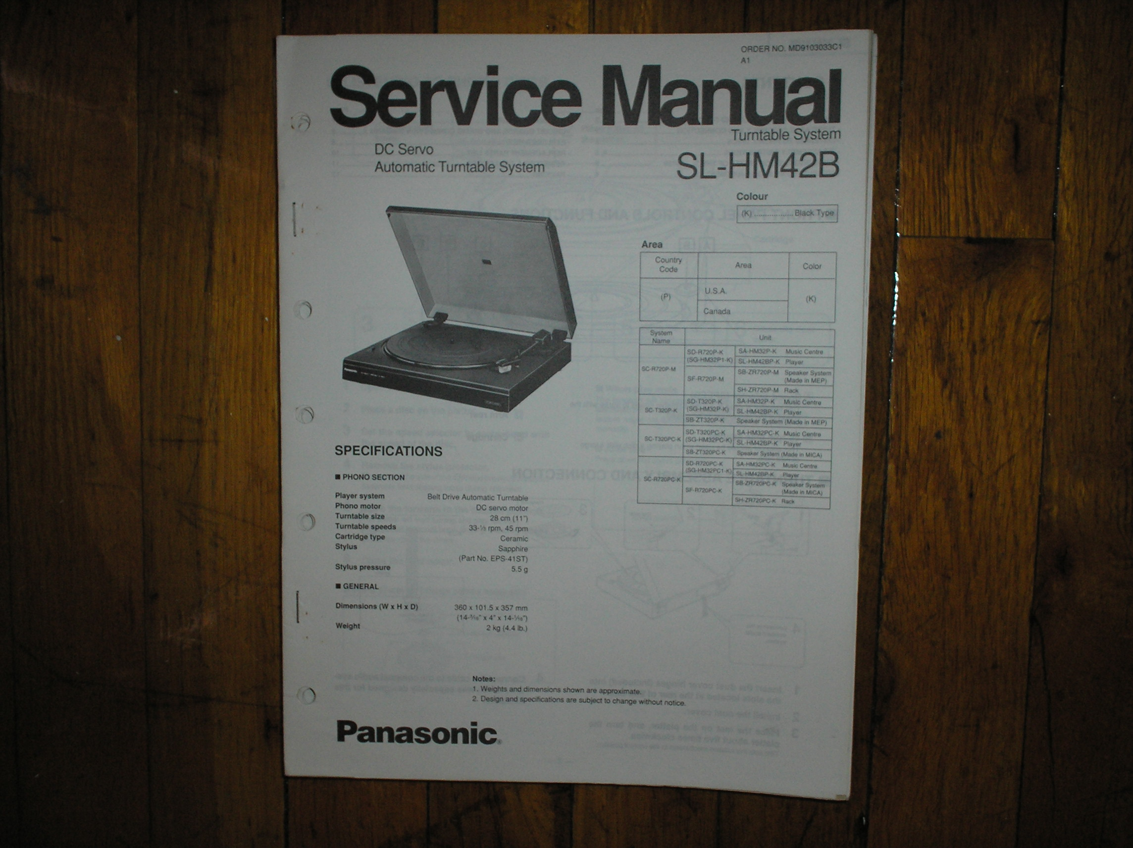 SL-M42B Turntable Service Manual  PANASONIC TURNTABLES
