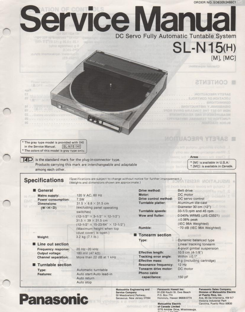 SL-N15 Turntable Service Manual