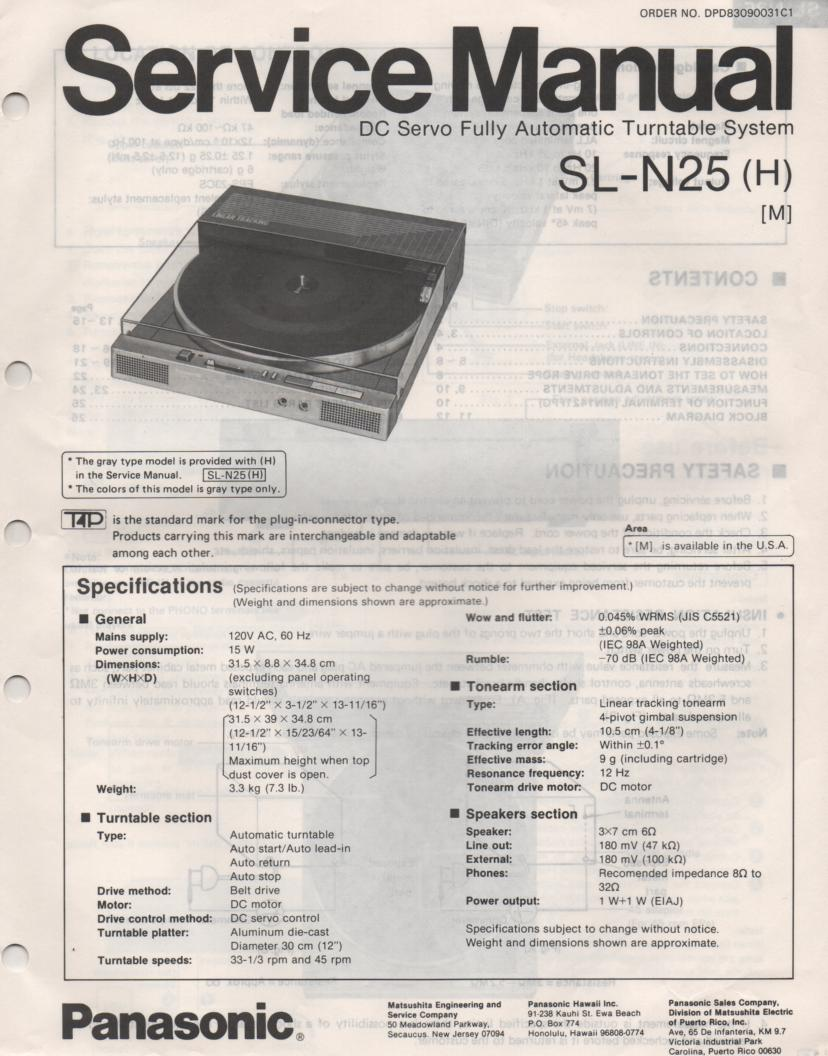 SL-N25 Turntable Service Manual  PANASONIC TURNTABLES