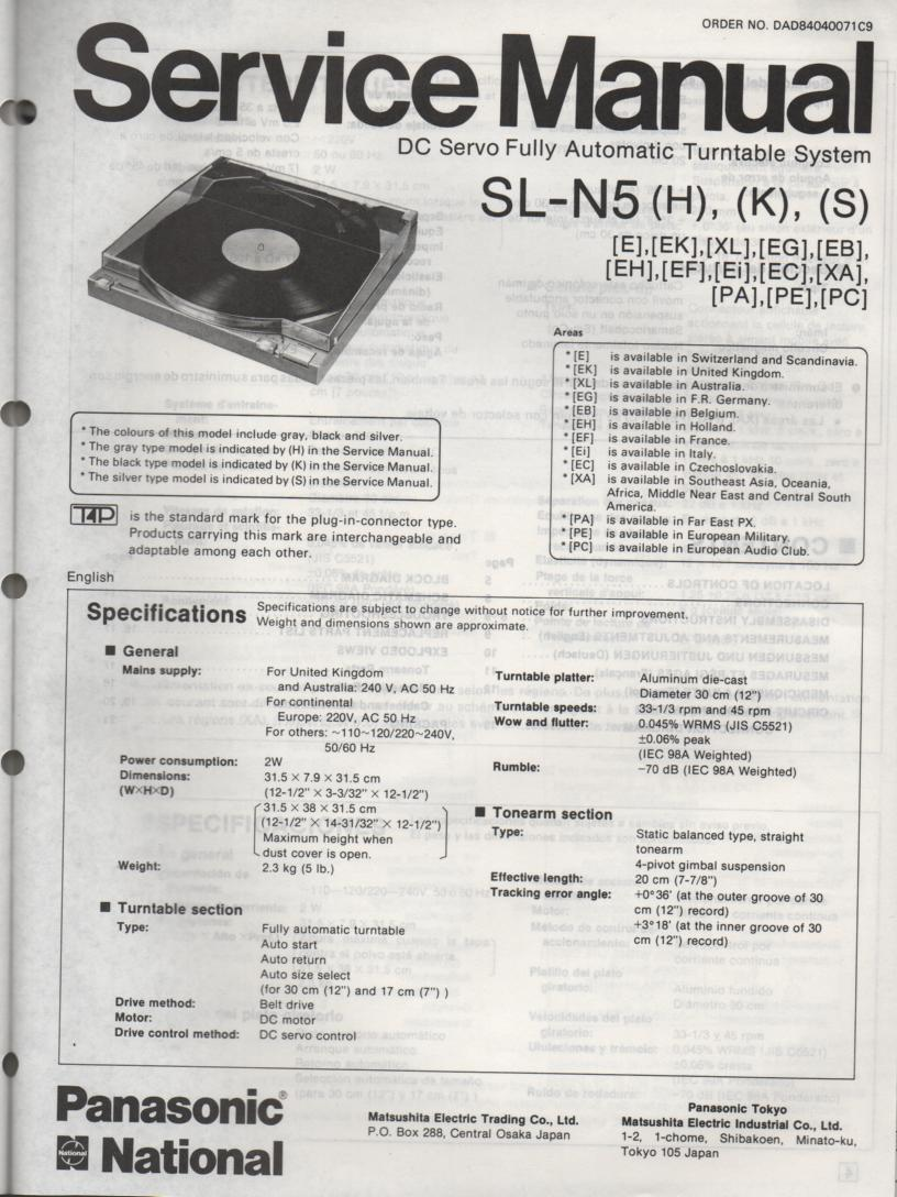 SL-N5 Turntable Service Manual  PANASONIC TURNTABLES