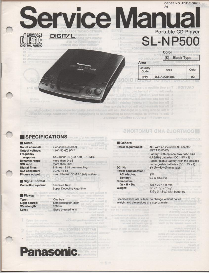 SL-NP500 Portable CD Player Service Manual