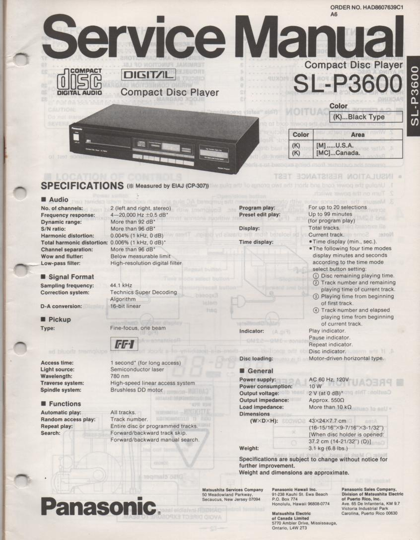SL-P3600 CD Player Service Manual