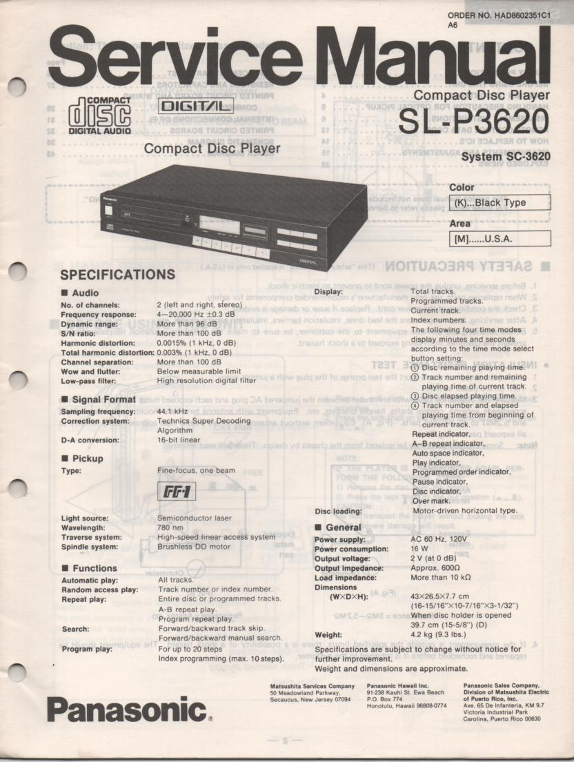 SL-P3620 CD Player Service Manual