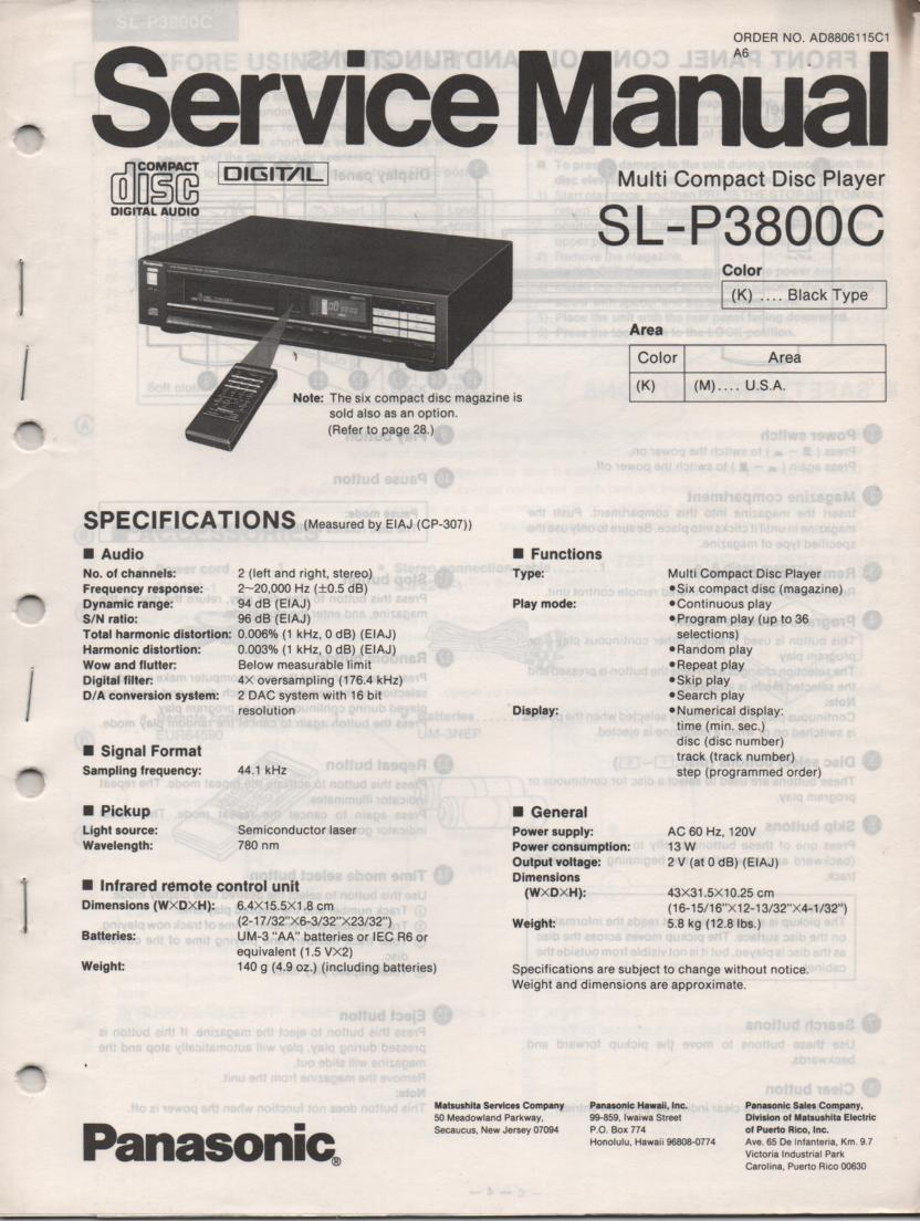SL-P3800C CD Player Service Manual.  2 manual set.