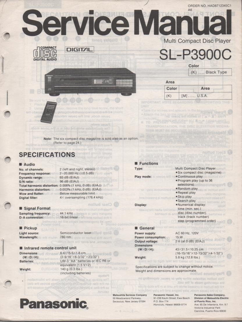 SL-P3900C CD Player Service Manual