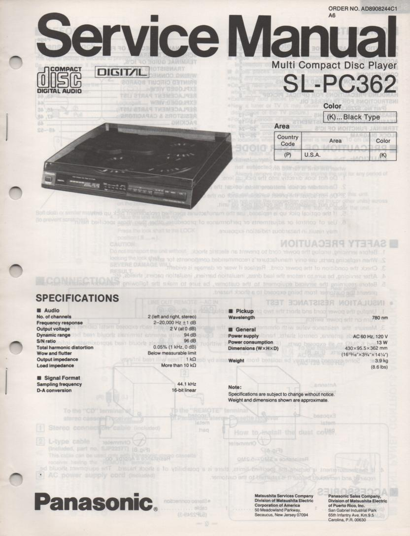SL-PC362 Multi Disc CD Player Service Manual