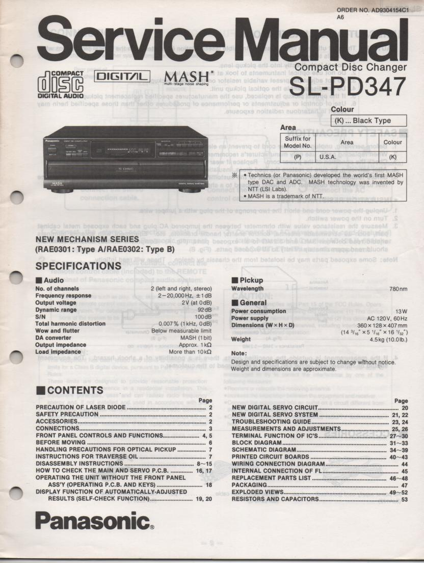 SL-PD347 Multi Disc CD Player Service Instruction Manual