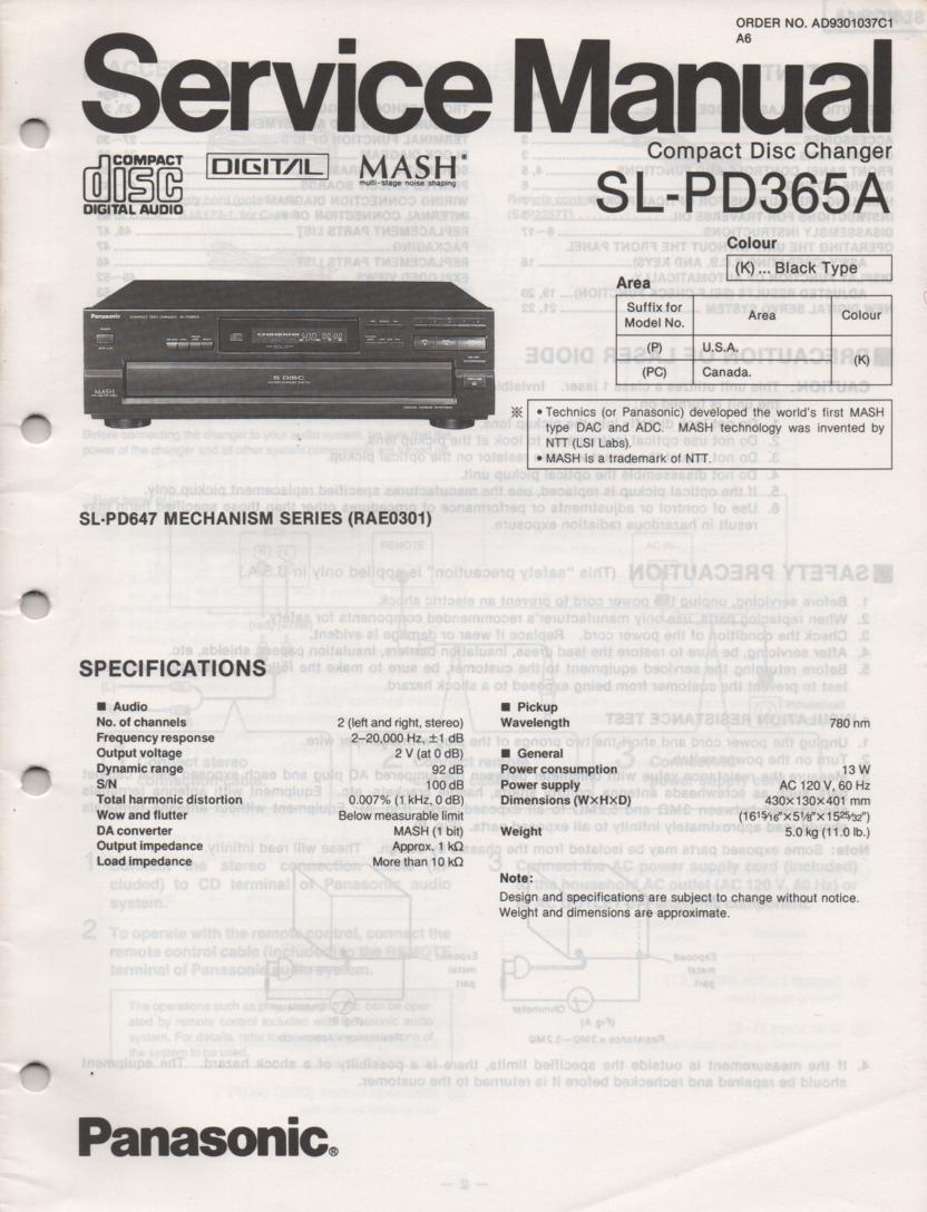 SL-PD365A Multi Disc CD Player Service Instruction Manual