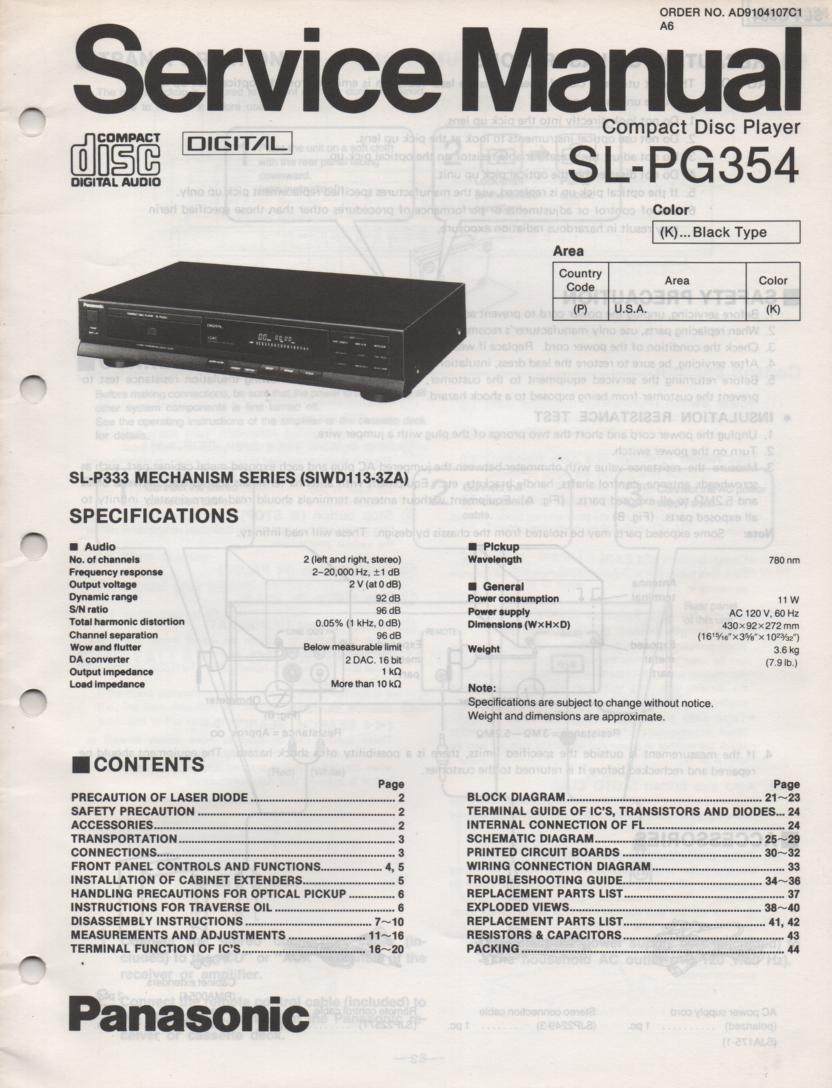 SL-PG354 Multi Disc CD Player Service Instruction Manual