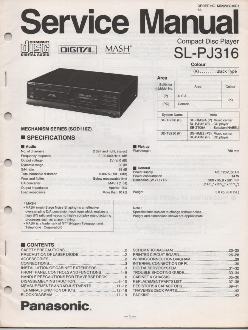 SL-PJ316 Multi Disc CD Player Service Instruction Manual