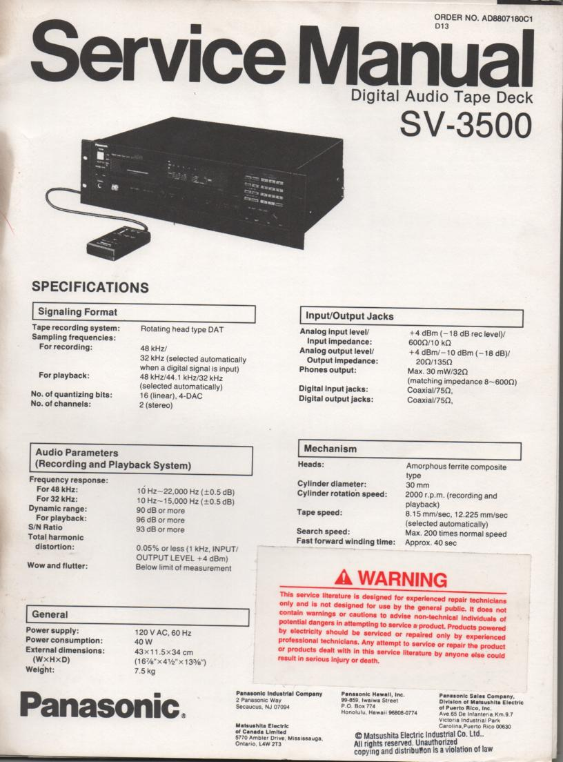 SV-3500 Digital Audio Tape Deck Service Manual