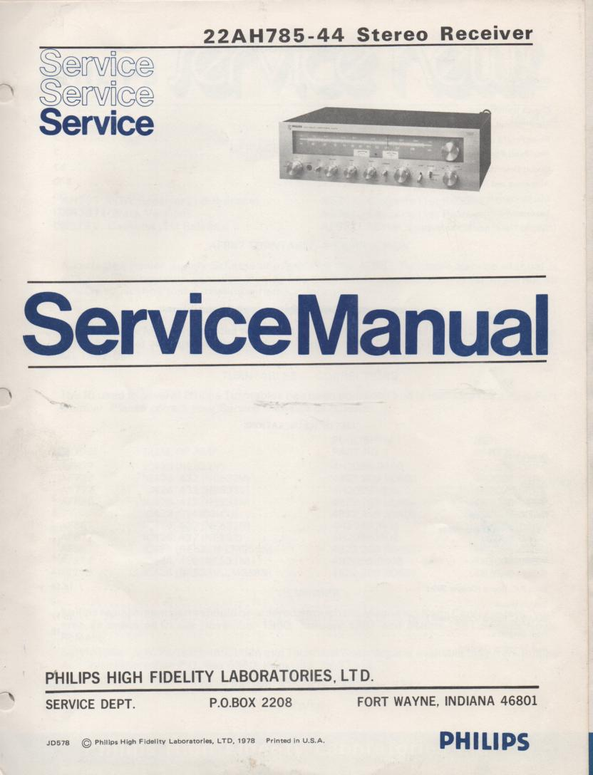 22AH785-44 Stereo Receiver Service Manual  PHILIPS