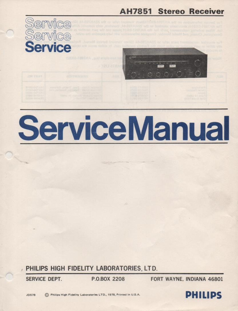 AH7851 Stereo Receiver Service Manual  PHILIPS