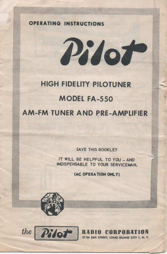 FA-550 AM FM Tuner Pre Amplifier Service Manual