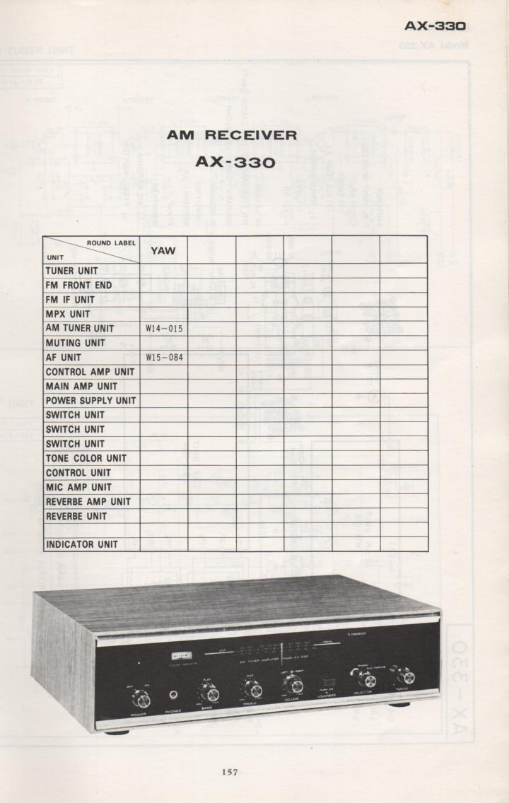AX-330 Receiver Schematic Manual Only.  It does not contain parts lists, alignments,etc.  Schematics only