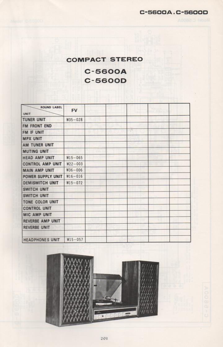 C-5600A Stereo System Schematic Manual Only.  It does not contain parts lists, alignments,etc.  Schematics only