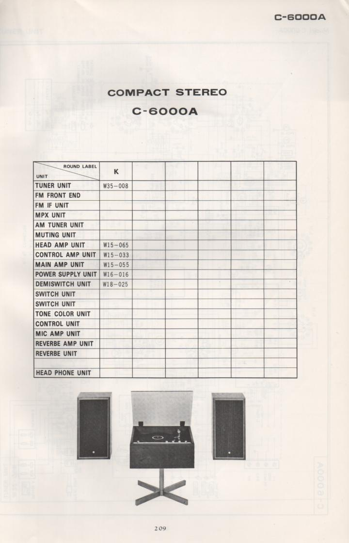 C-6000A Stereo System Schematic Manual Only.  It does not contain parts lists, alignments,etc.  Schematics only