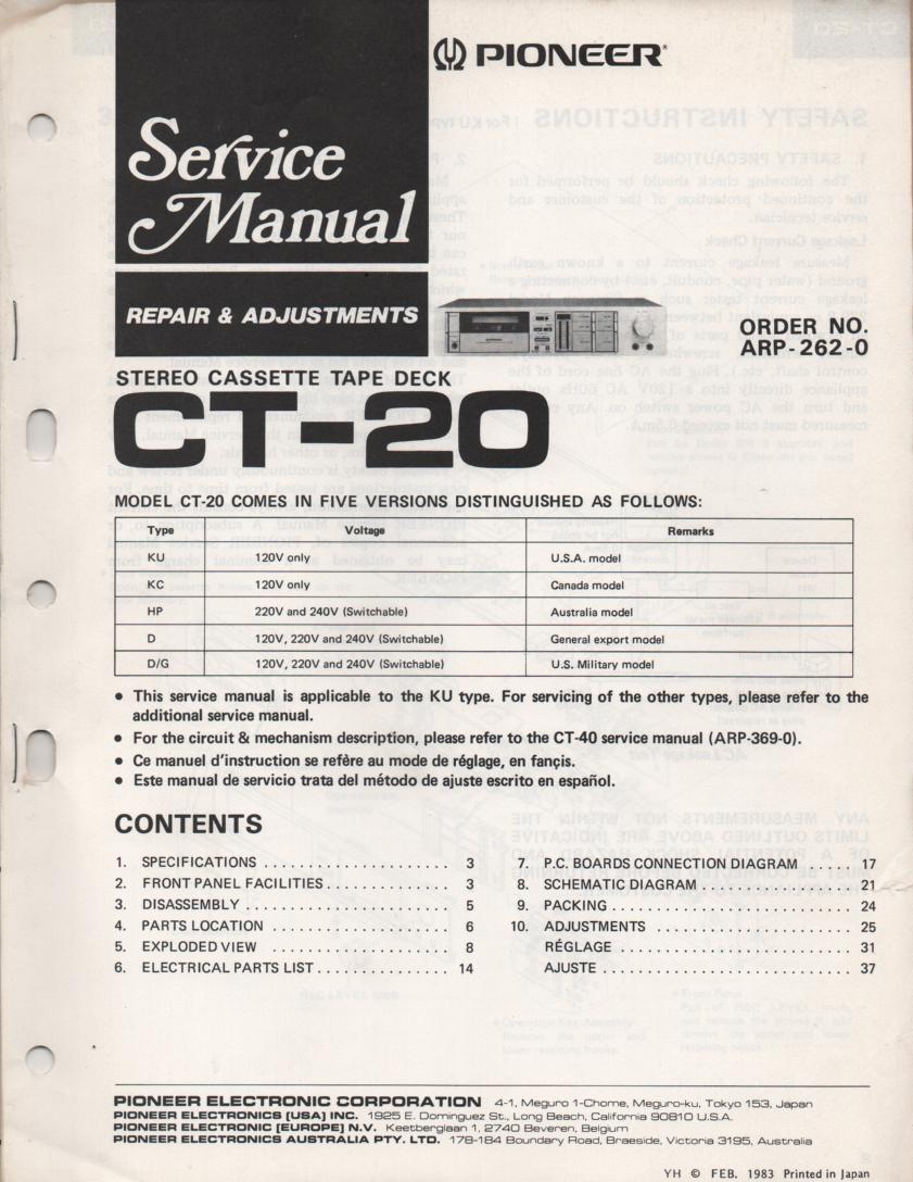 CT-20 Cassette Deck Service Manual. ARP-262-0