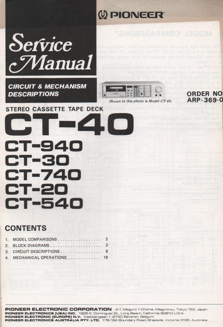 CT-30 Cassette Deck Circuits and Mechanism Service Manual. Contains mostly block diagrams..ARP-369-0