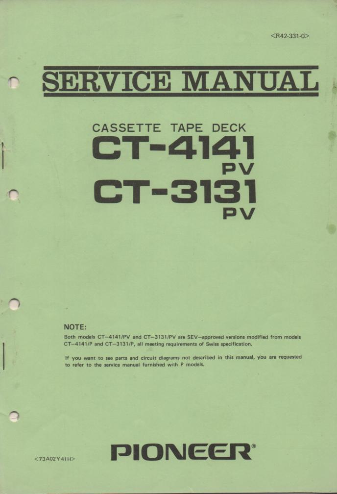CT-3131 CT-4141 Cassette Deck Service Manual for P PV and SEV Types.