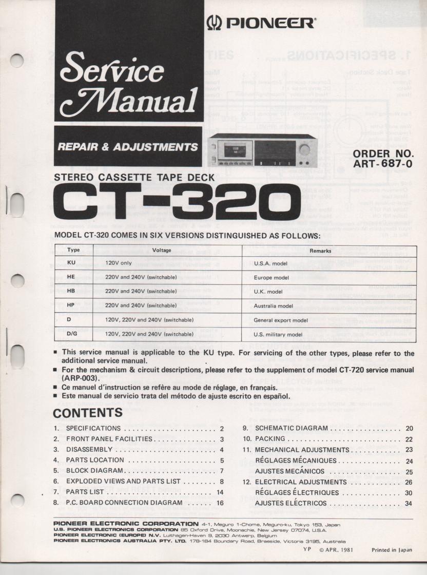 CT-320 Cassette Deck Service Manual. 38 pages. ART-687-0.. CT-720 Manual ARP-003-0 mechanism timing and circuit descriptions..