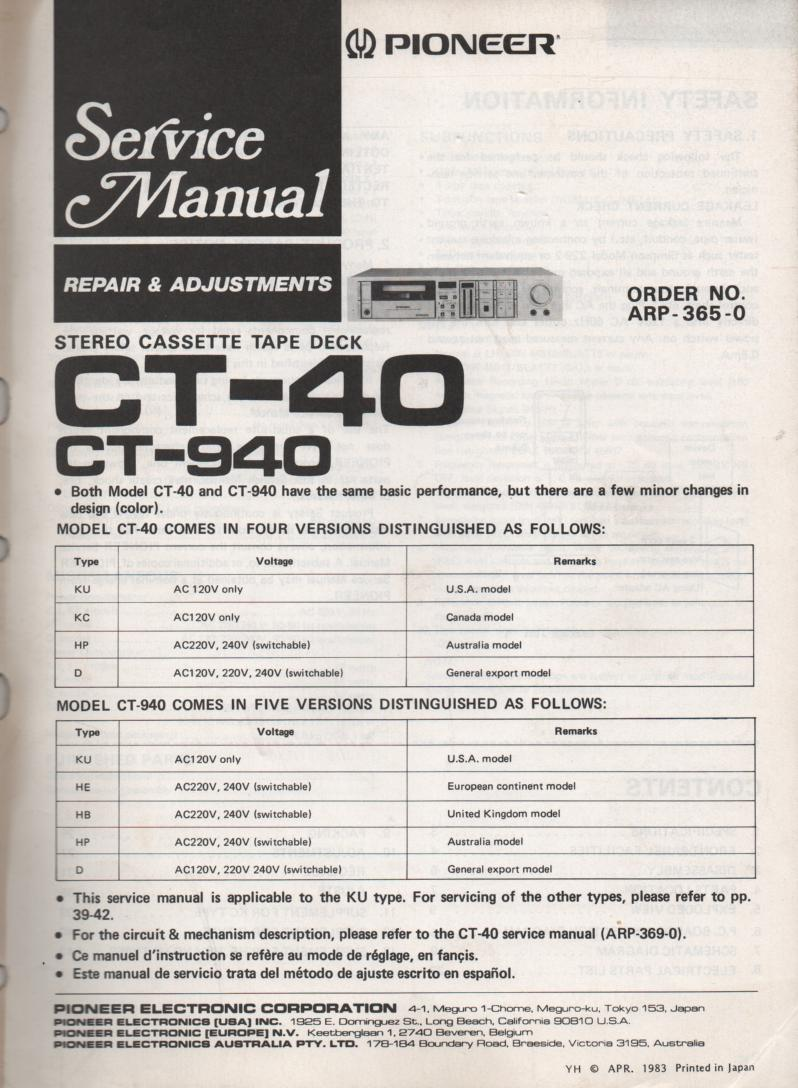 CT-40 CT-940 Cassette Deck Repair and Adjustments Service Manual. ARP-365-0