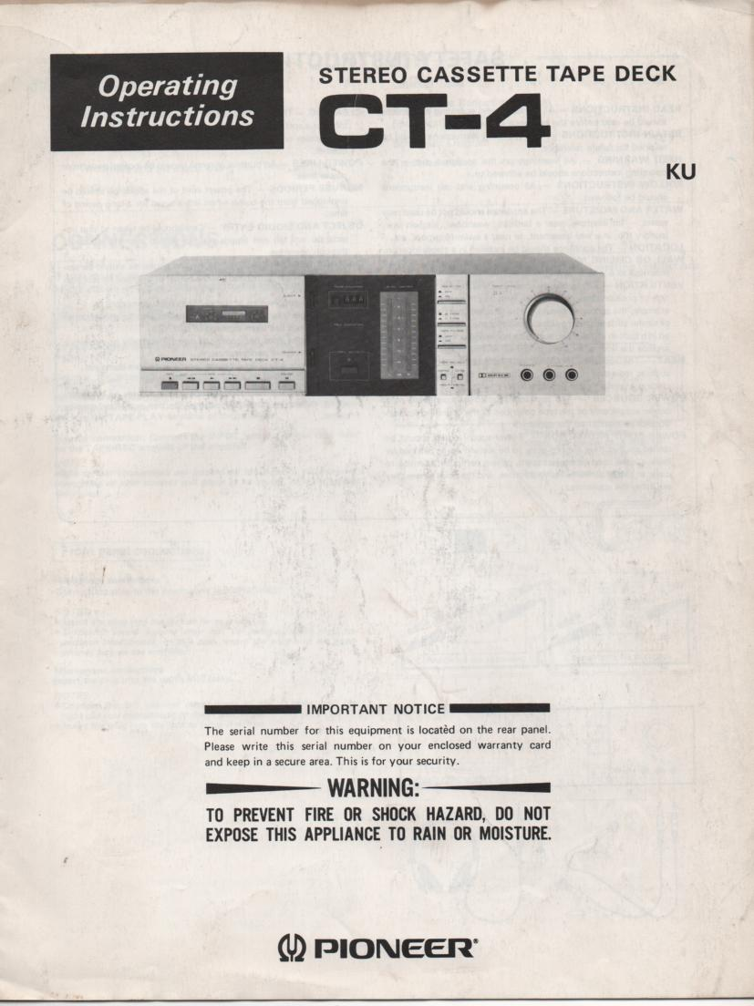 CT-4 Cassette Deck Operating Instruction Manual