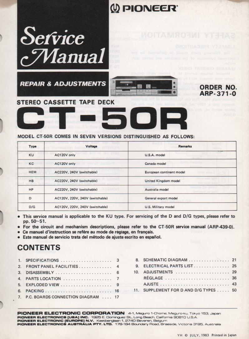 CT-50R Cassette Deck Repair and Adjustments Service Manual. ARP-371-0