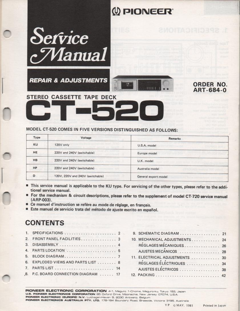 CT-520 Cassette Deck Service Manual. ART-684-0. Circuit and mechanism info CT-720 ARP-003-0 manual. English, French, Spanish instructions..