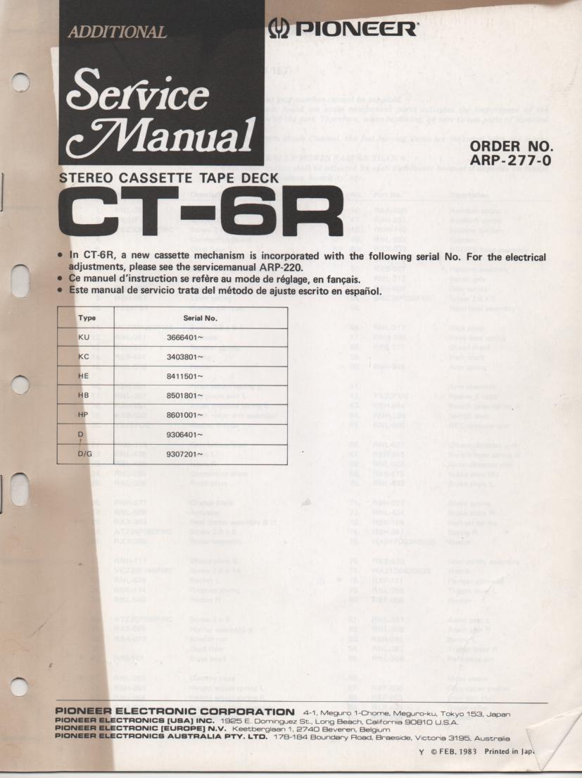 CT-6R Cassette Deck Service Manual 2. ARP-277-0
