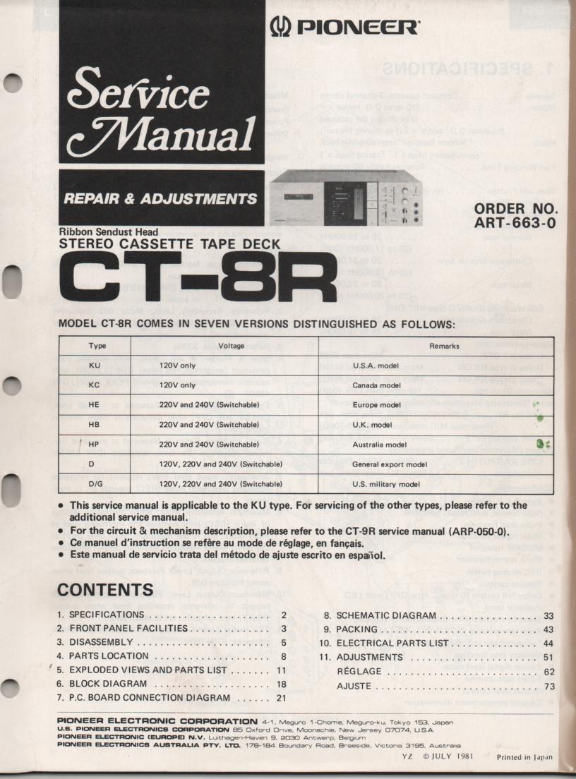 CT-8R Cassette Deck Service Manual 1. ART-663-0