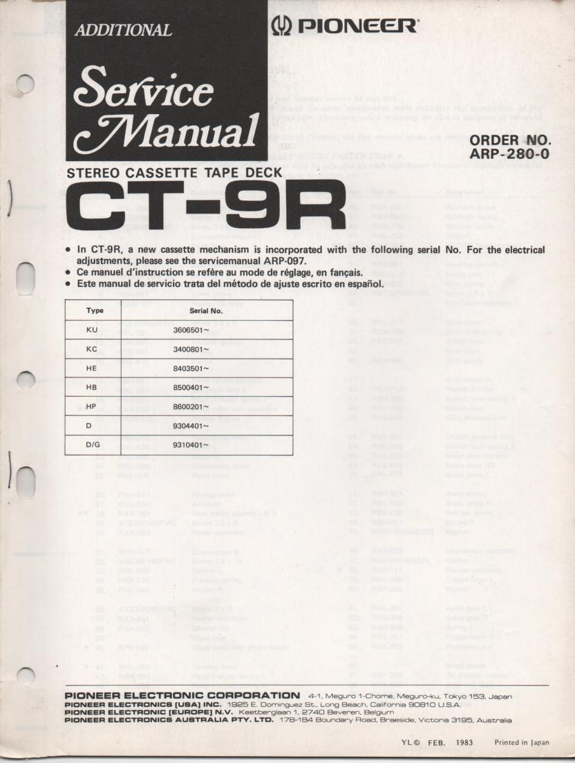 CT-9R Cassette Deck Service Manual . Updated Mechanism Service Manual. KU Serial No. 3606501 and up. KC Serial No. 3400801 and up. HE Serial No. 8403501 and up. HB Serial No. 8500401 and up. HP Serial No. 8600201 and up. D Serial No. 9304401 and up. D/G Serial No. 9310401 and up. Manual is in Engish French and Spanish.. Contains updated mechanism disassembly and parts list, adjustments, schematics. ARP-280-0 . 34 Pages