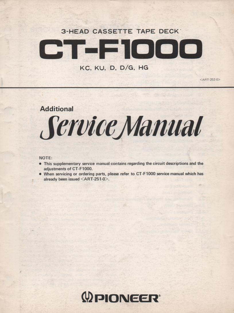 CT-F1000 Cassette Deck Service Manual 2. ART-252-0