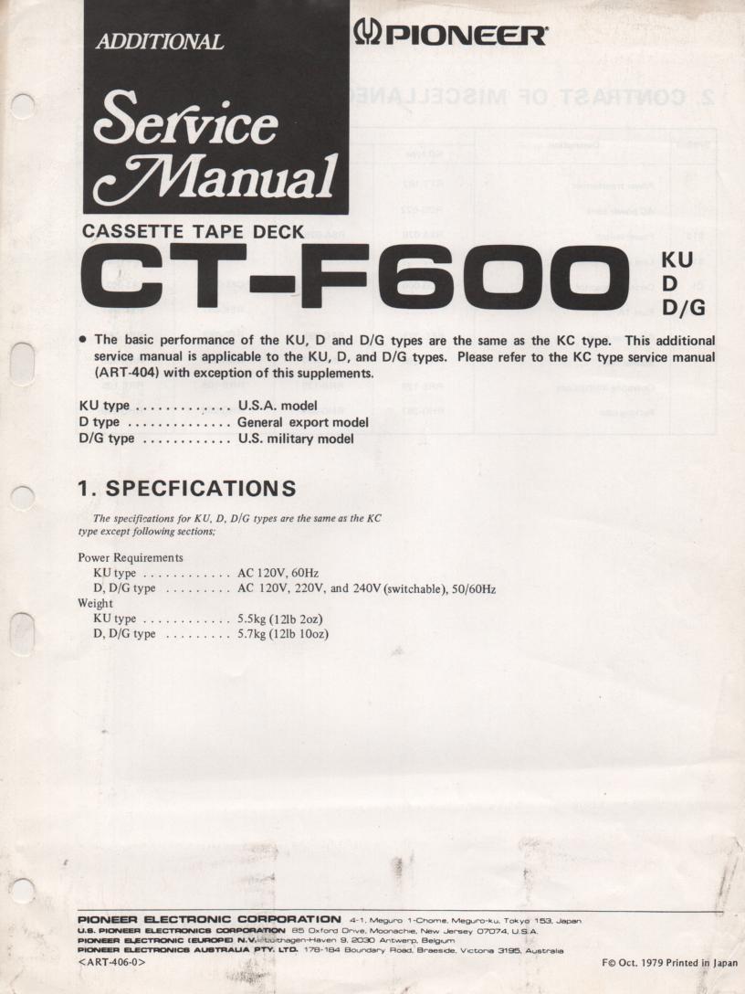 CT-F600 Cassette Deck Service Manual 2. ART-404-0 and ART-406-0