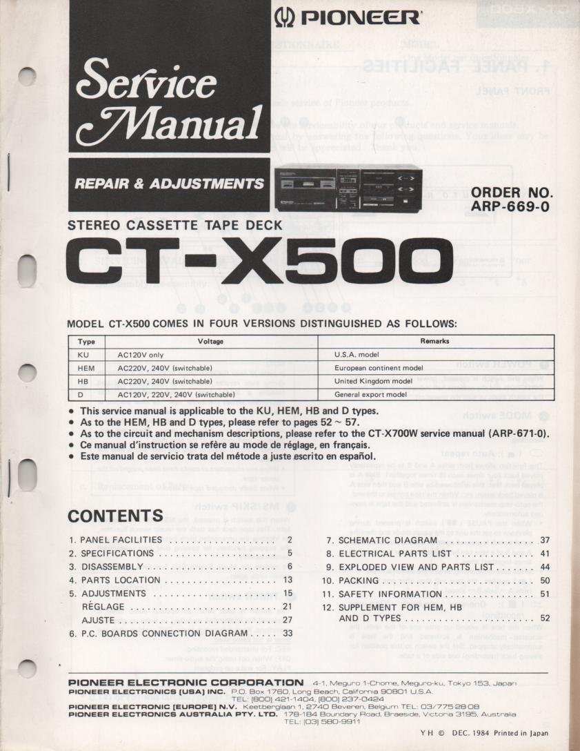 CT-X500 Cassette Deck Service Manual. ARP-669-0 .. 60 pages..
