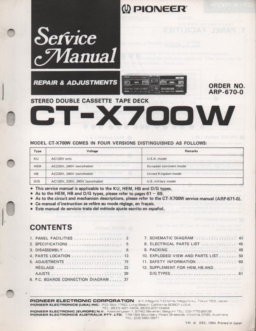 CT-X700W Cassette Deck Service Manual. ARP-670-0