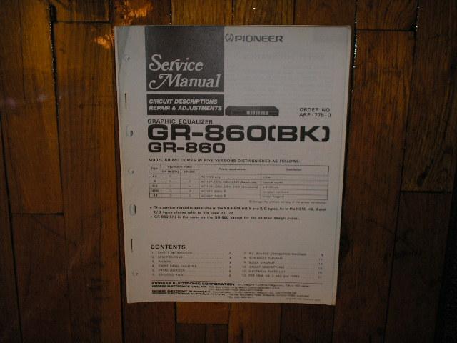 GR-860 GR-860BK Graphic Equalizer Service Manual