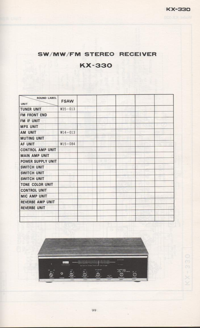 KX-330 Receiver Schematic Manual Only.  It does not contain parts lists, alignments,etc.  Schematics only