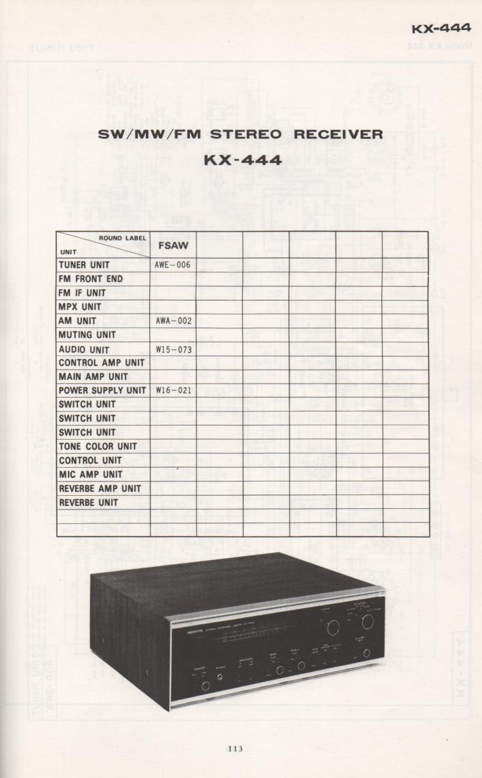 KX-444 Receiver Schematic Manual Only.  It does not contain parts lists, alignments,etc.  Schematics only