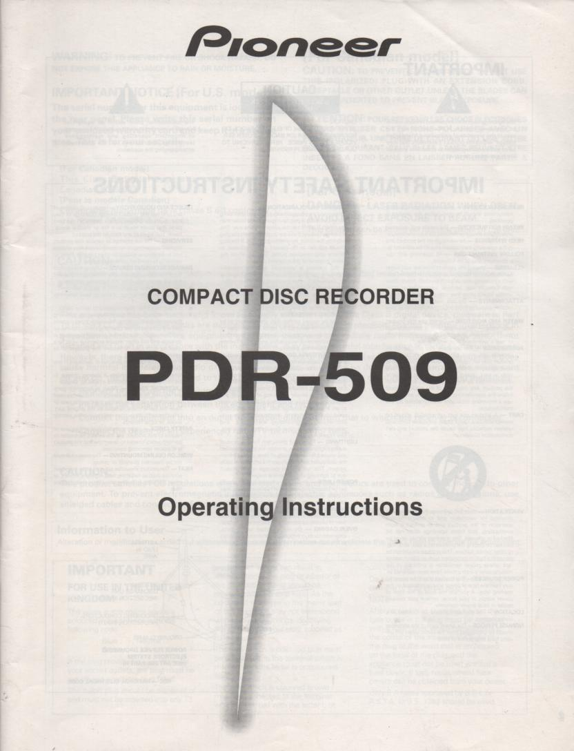 PDR-509 CD Recorder Owners Manual