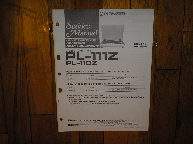 PL-110Z PL-111Z Turntable Service Manual