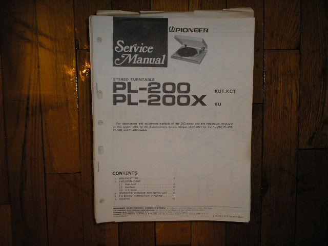 PL-200 PL-200X Turntable Service Manual.  3 Manuals
