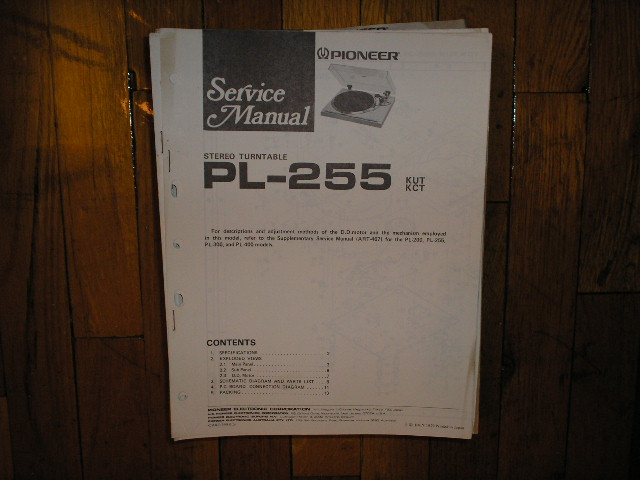 PL-255 Turntable Service Manual.  3 Manuals