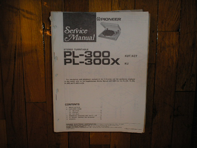 PL-300 PL-300X Turntable Service Manual. 3 Manuals.