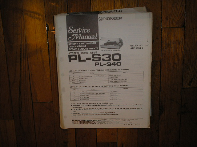 PL-340 PL-S30 Turntable Service Manual