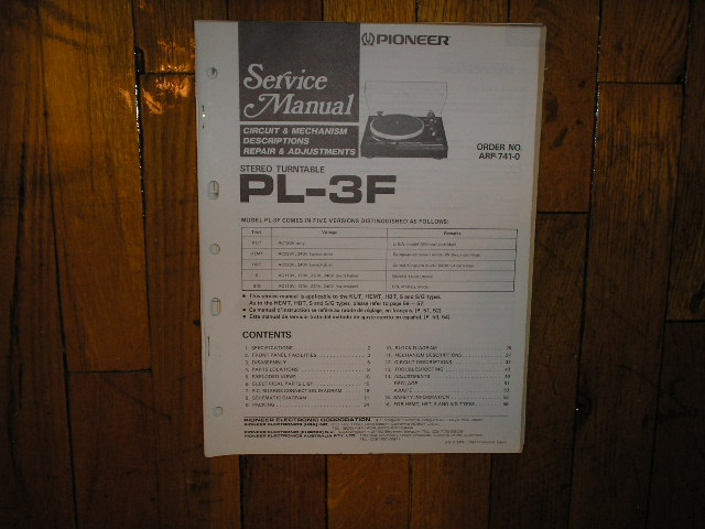 PL-3F Turntable Service Manual  PIONEER TURNTABLES